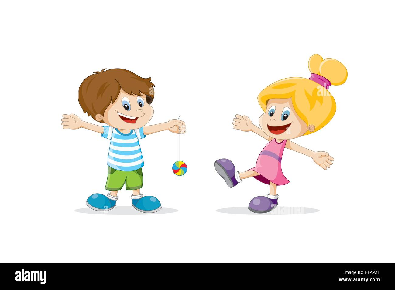 Dibujos Caras De Niños Felices Animadas: Dos Niños Felices Jugando De Dibujos Animados