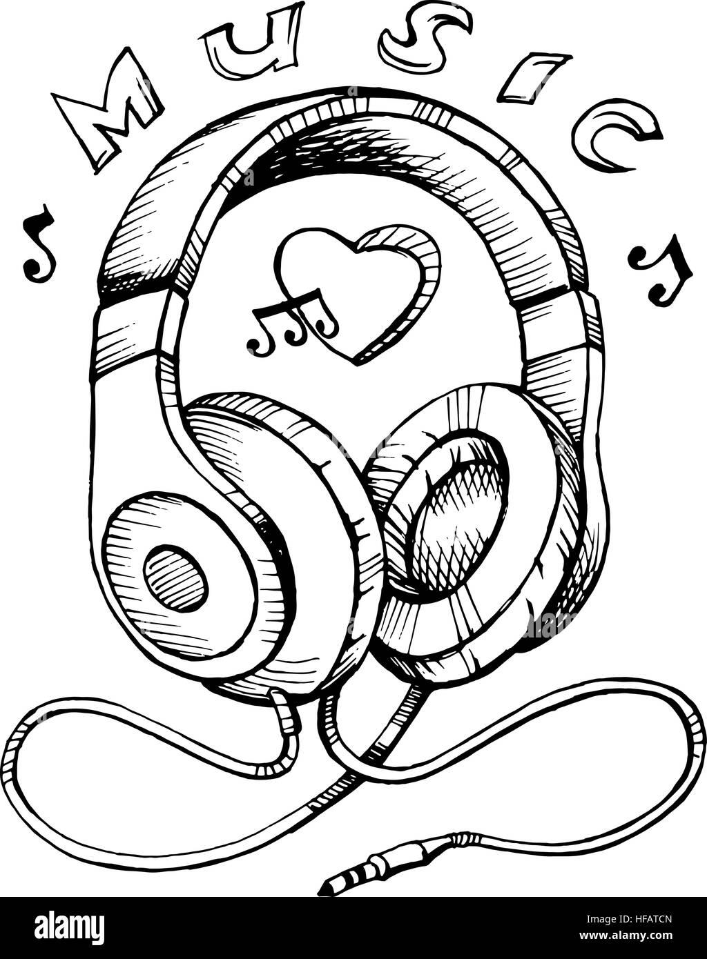 Auriculares Boceto Ilustración Vectorial Con Notas Musicales