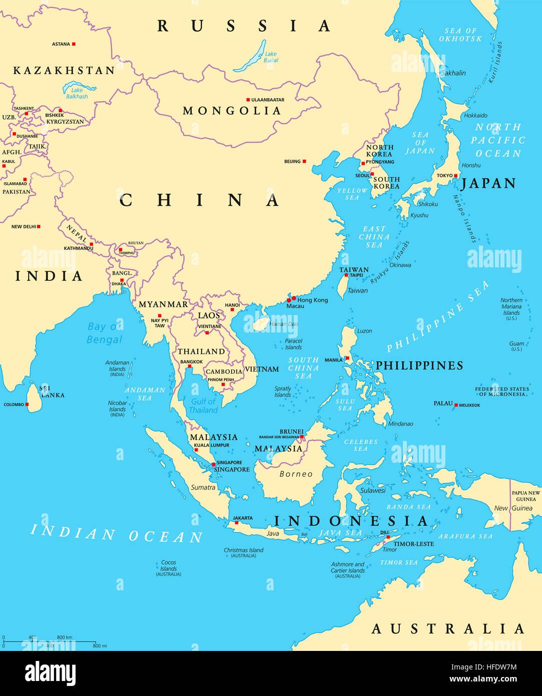 Mapa político de Asia oriental con las capitales y de las fronteras nacionales. Subregión oriental del Imagen De Stock