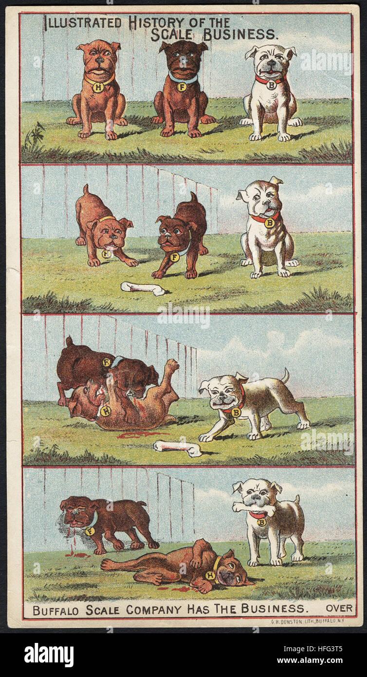 Tarjetas de comercio agrícola - que ilustra la historia de la escala empresarial. Escala de búfalo Empresa Imagen De Stock