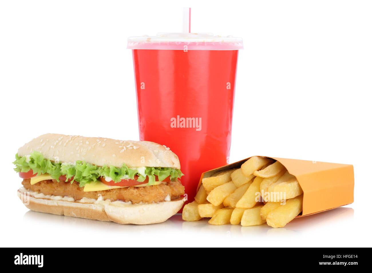 Hamburguesa de pollo Chickenburger hamburguesa y patatas fritas comidas de menú combo beber aislado sobre un Imagen De Stock