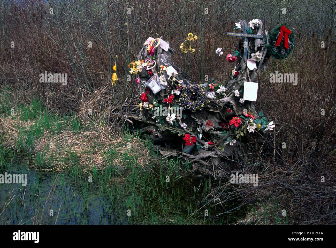 Carretera santuario memorial y homenaje a las víctimas muertas en accidente de coche fatal Imagen De Stock