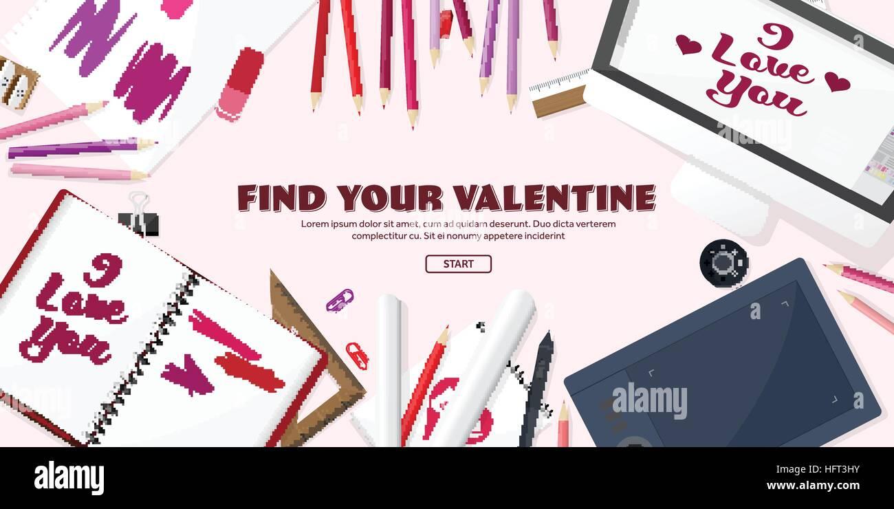 Día De San Valentín Trabajo Con Tabla El Equipo De Diseño Dibujo