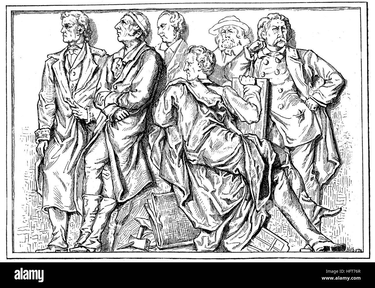 Desde la izquierda, Rietschel, G. Schadow, W. Schadow, Schnorr von Carolsfeld, Rethel und Schwind, son las personas de la Relieffries de Geyer en la Galería Nacional de Berlín, Alemania, la xilografía a partir del año 1885, digital mejorado Foto de stock