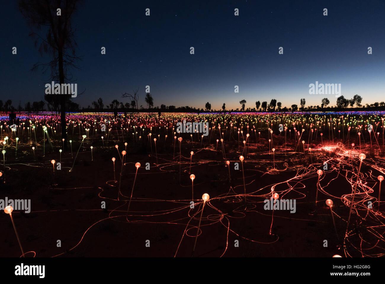 Campo de luz del artista Bruce Monro en Ayers Rock/Uluru, Australia tiene miles de luces de colores Foto de stock