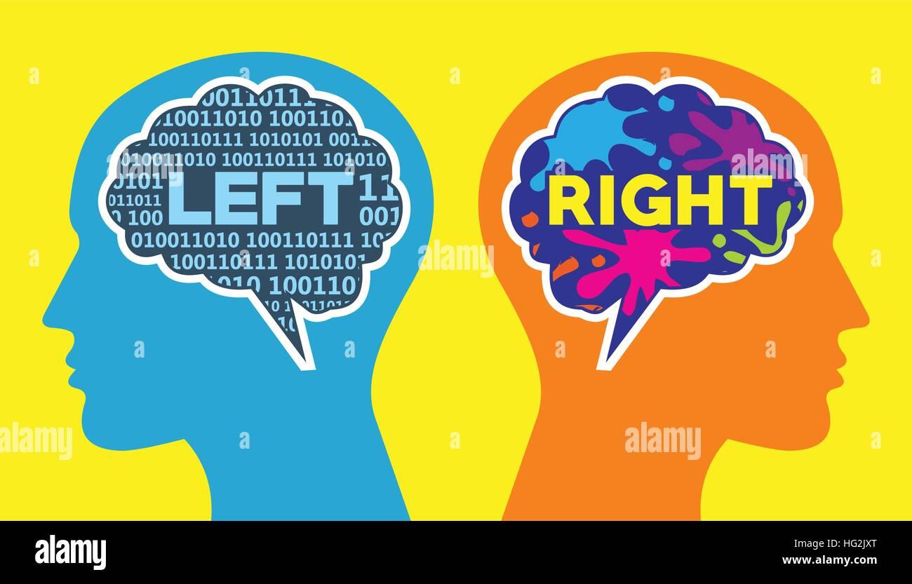 Izquierda y derecha del cerebro forma de pensar Imagen De Stock
