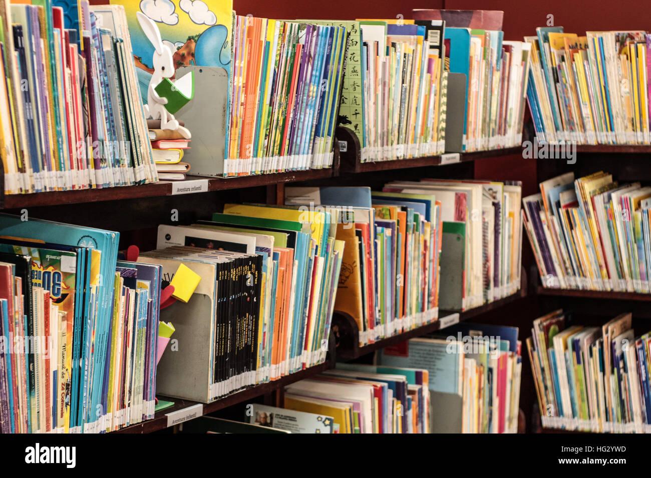 Una estantería de libros variados con un conejito en una biblioteca infantil. Imagen De Stock