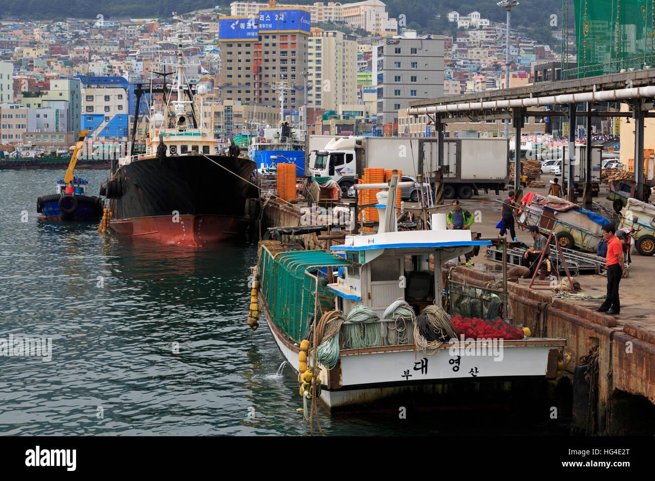 Mercado de Pescado, distrito de Nampo, Busan, Corea del Sur, Asia Foto de stock