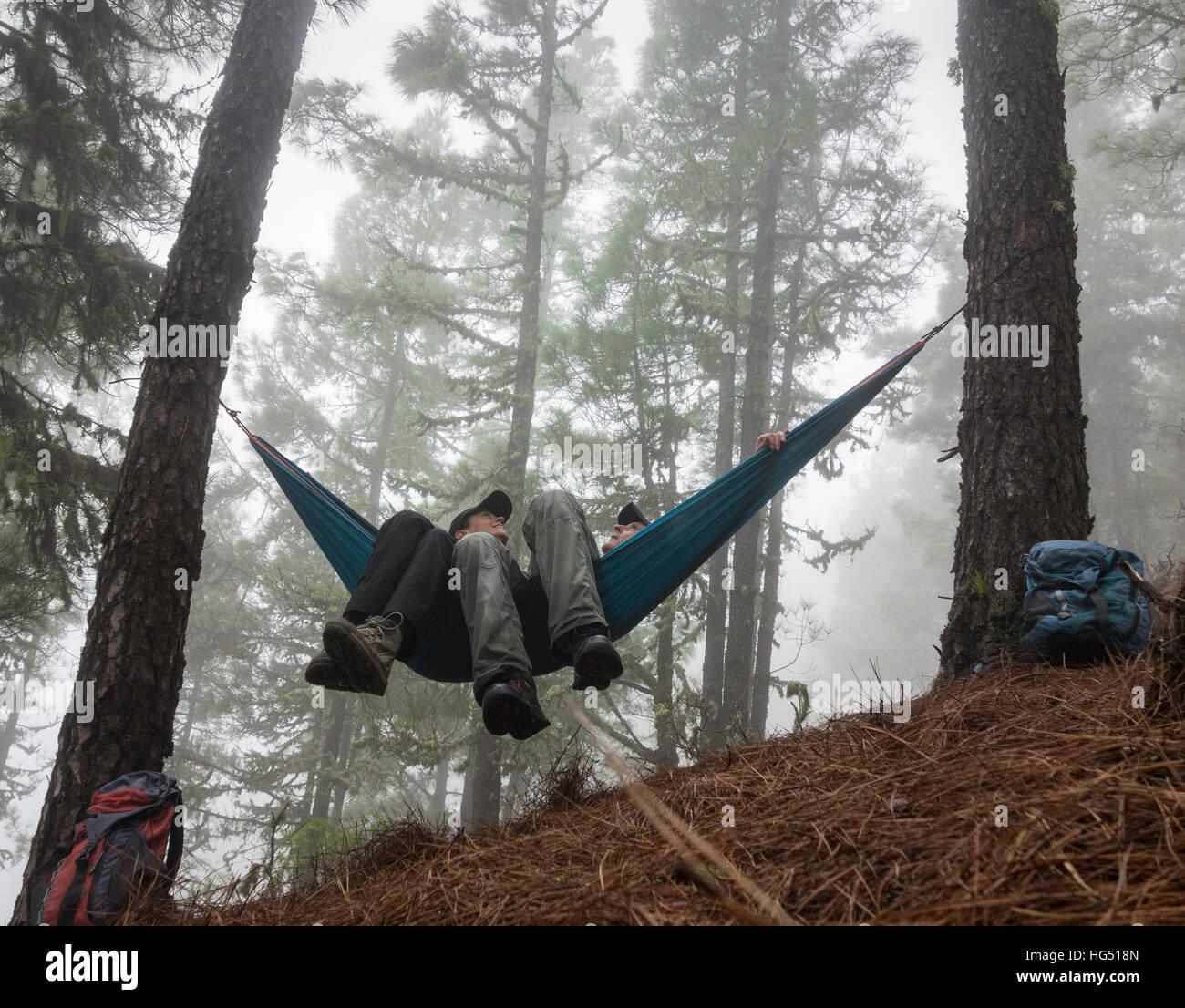 Pareja senderismo, relajarse en una hamaca en el brumoso bosque de pinos. Imagen De Stock