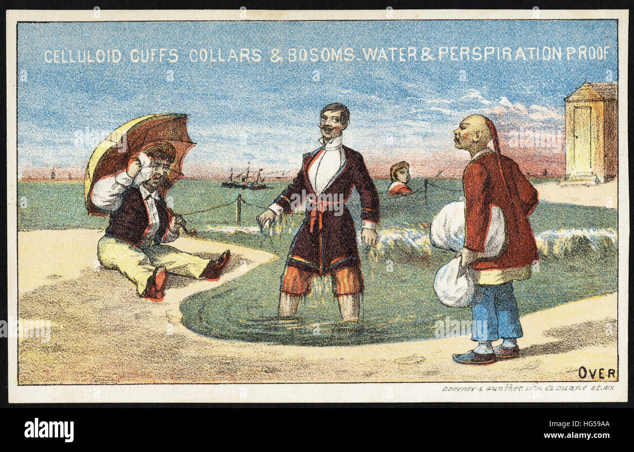 Las tarjetas comerciales de ropa - manguito de celuloide & Collares bosoms, agua y transpiración prueba Imagen De Stock
