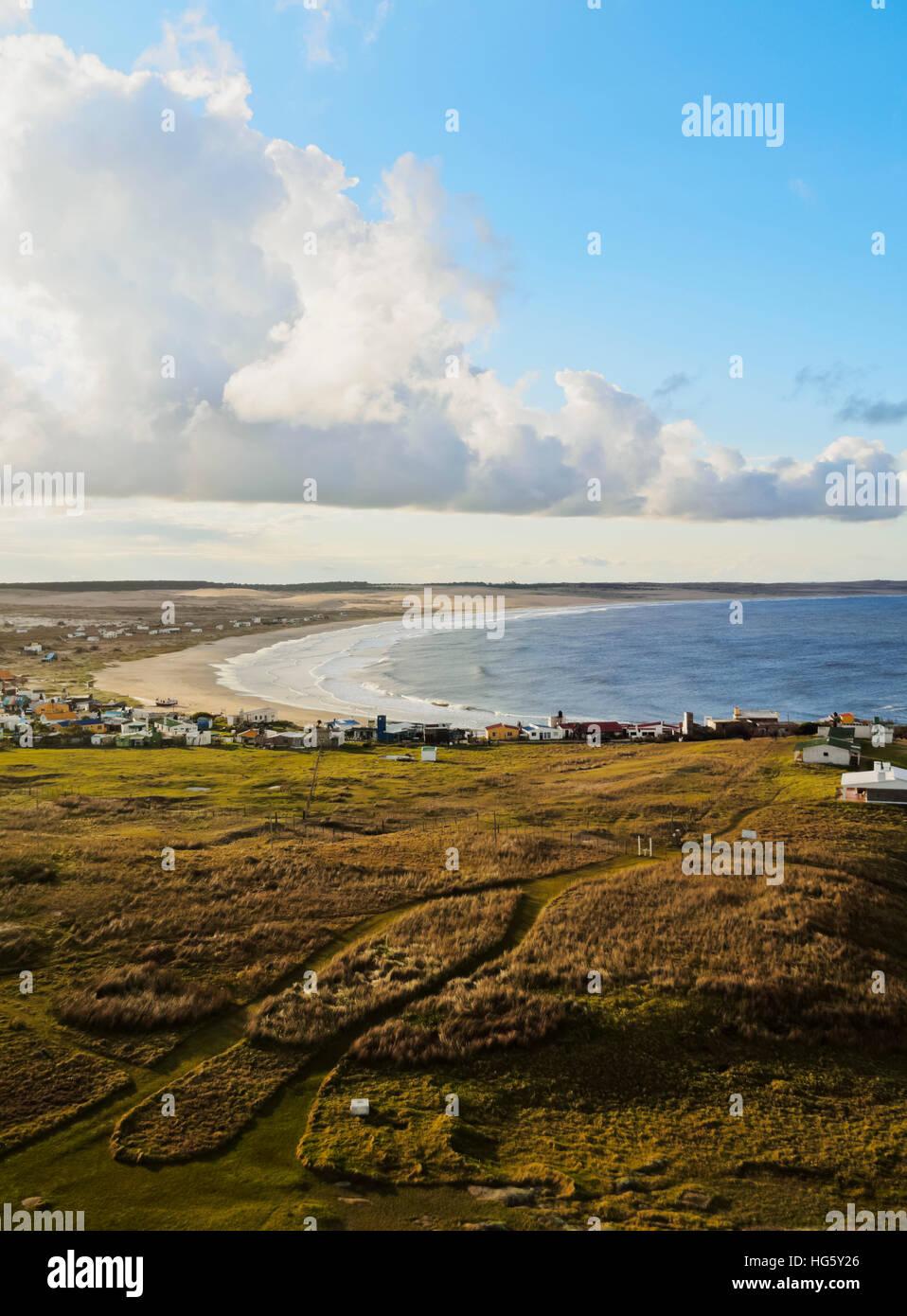 Uruguay, Departamento de Rocha, niveles elevados de vista del Cabo Polonio. Imagen De Stock