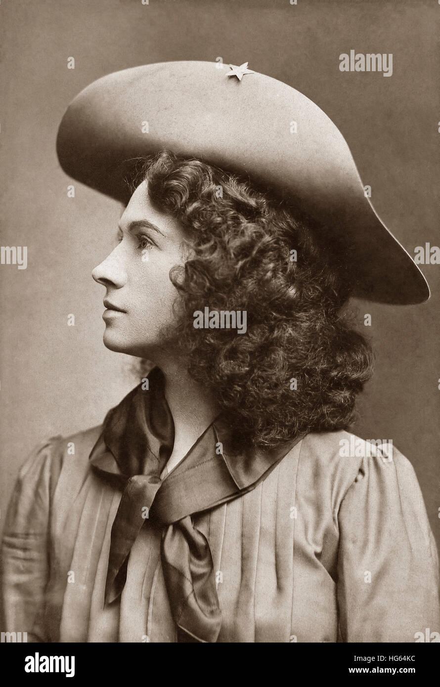 Retrato de American sharpshooter, Annie Oakley. Foto de stock