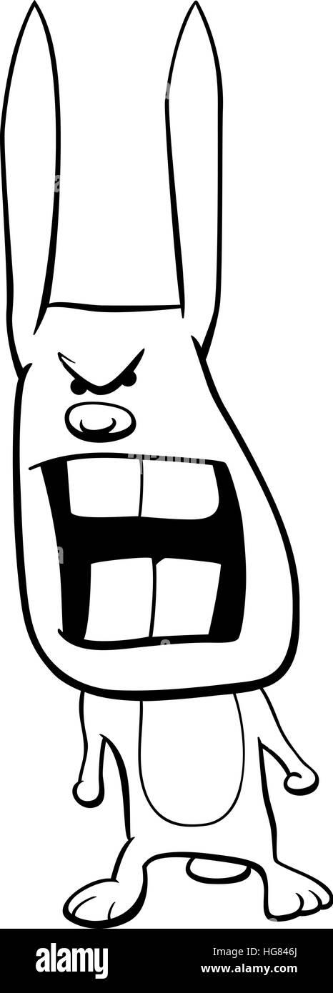 Ilustración caricatura en blanco y negro de enojado o conejo Bunny ...