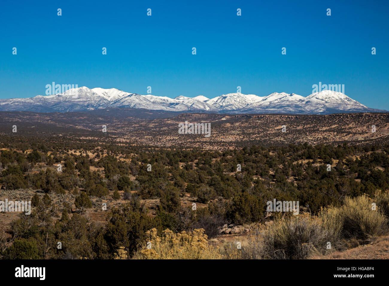 Blanding, Utah - tiene oídos Monumento Nacional ant la montaña abajo. Imagen De Stock