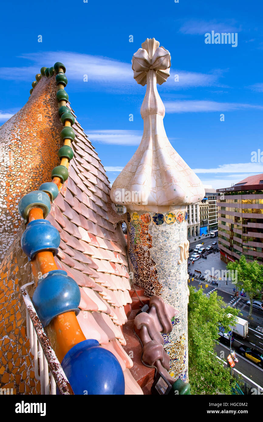 En el techo de la Casa Batllo, Barcelona Imagen De Stock