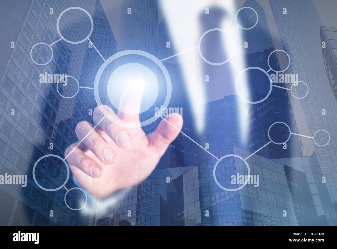Diagrama de flujo en blanco pantalla táctil abstracto, proceso de negocio o concepto de objetivo Imagen De Stock