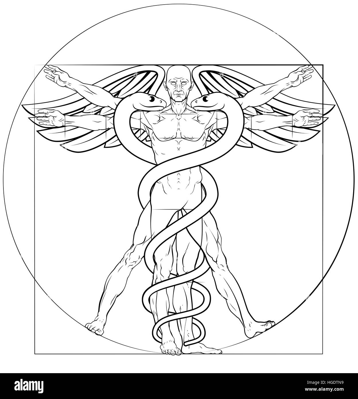 Caduceo símbolo médico Vitruvian hombre concepto con figura como ...