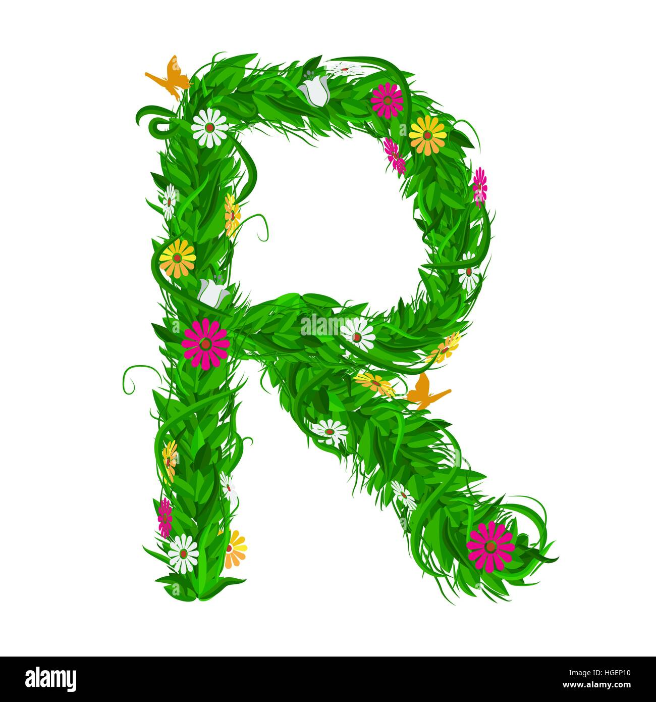 R carta eco verde con hojas y flores para su diseño. Estilo de color ...