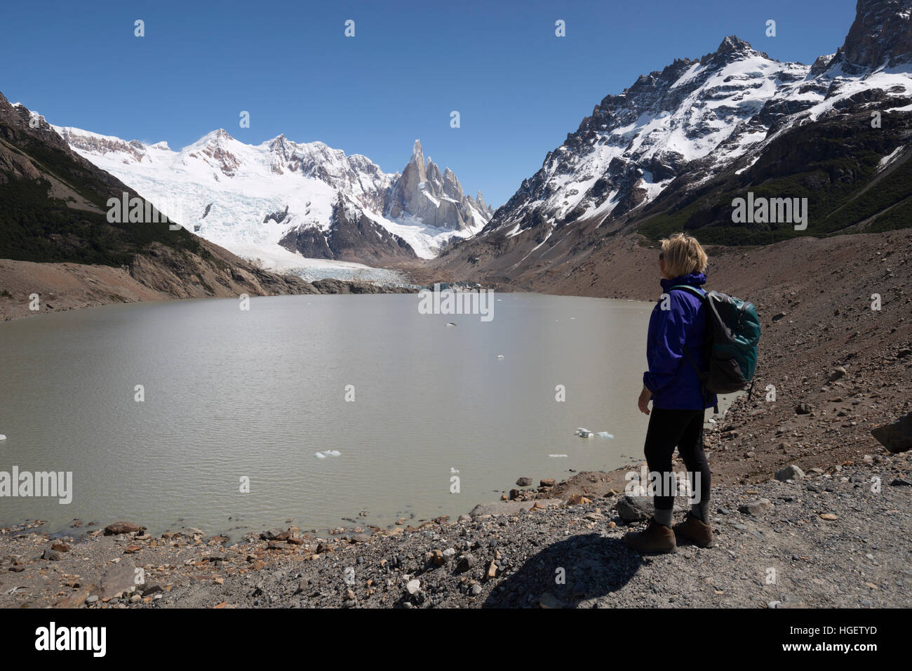 La Laguna Torre con vistas del Cerro Torre, El Chalten, Patagonia Argentina, Sudamérica Foto de stock
