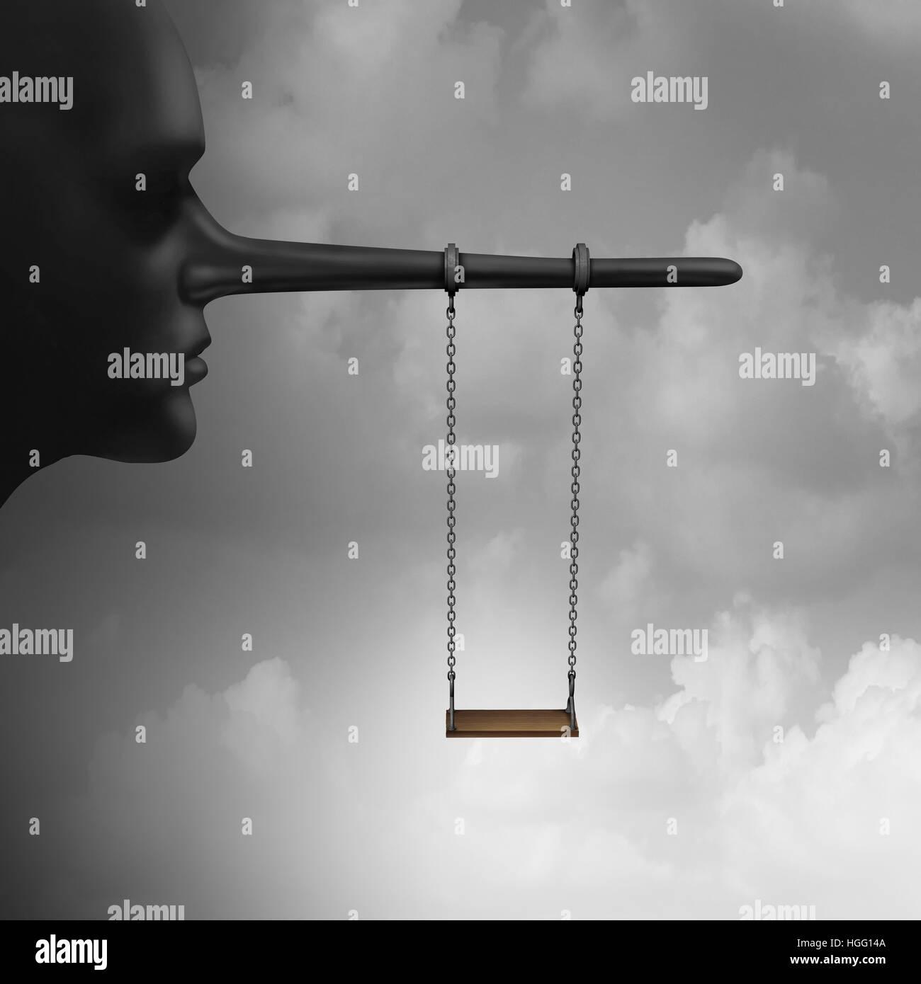 Mentir a los niños y confiar en la psicología de mentiras para niños concepto como un playground Imagen De Stock
