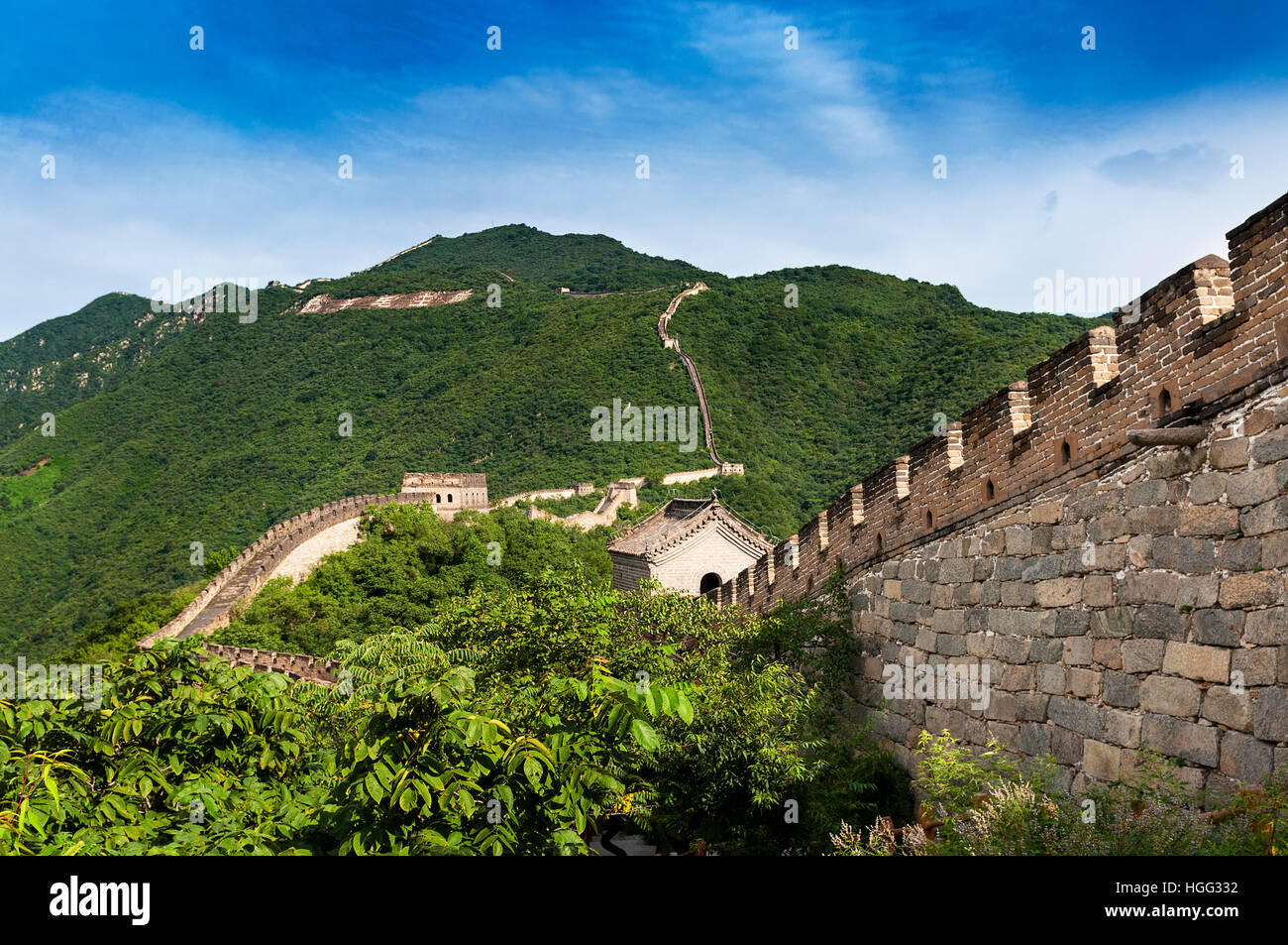 Vista de la Gran Muralla China en Mutianyu, China; concepto para viajar en China Foto de stock