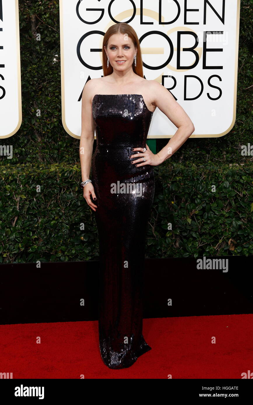 Beverly Hills, EE.UU. 08 ene, 2017. Amy Adams llega a la 74ª Anual de los Golden Globe Awards, Golden Globes, en Foto de stock