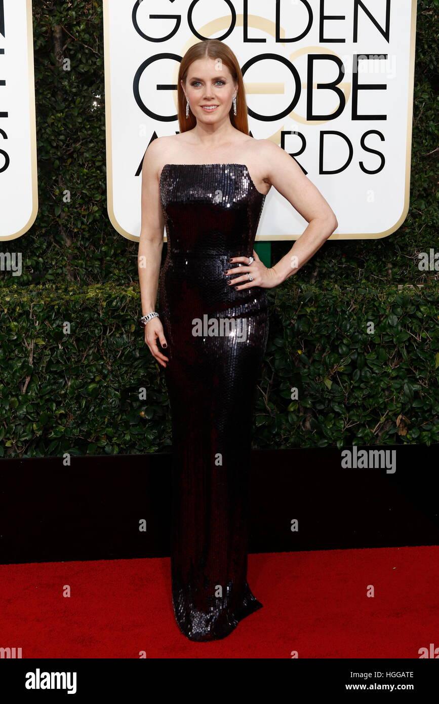 Beverly Hills, EE.UU. 08 ene, 2017. Amy Adams llega a la 74ª Anual de los Golden Globe Awards, Golden Globes, Imagen De Stock