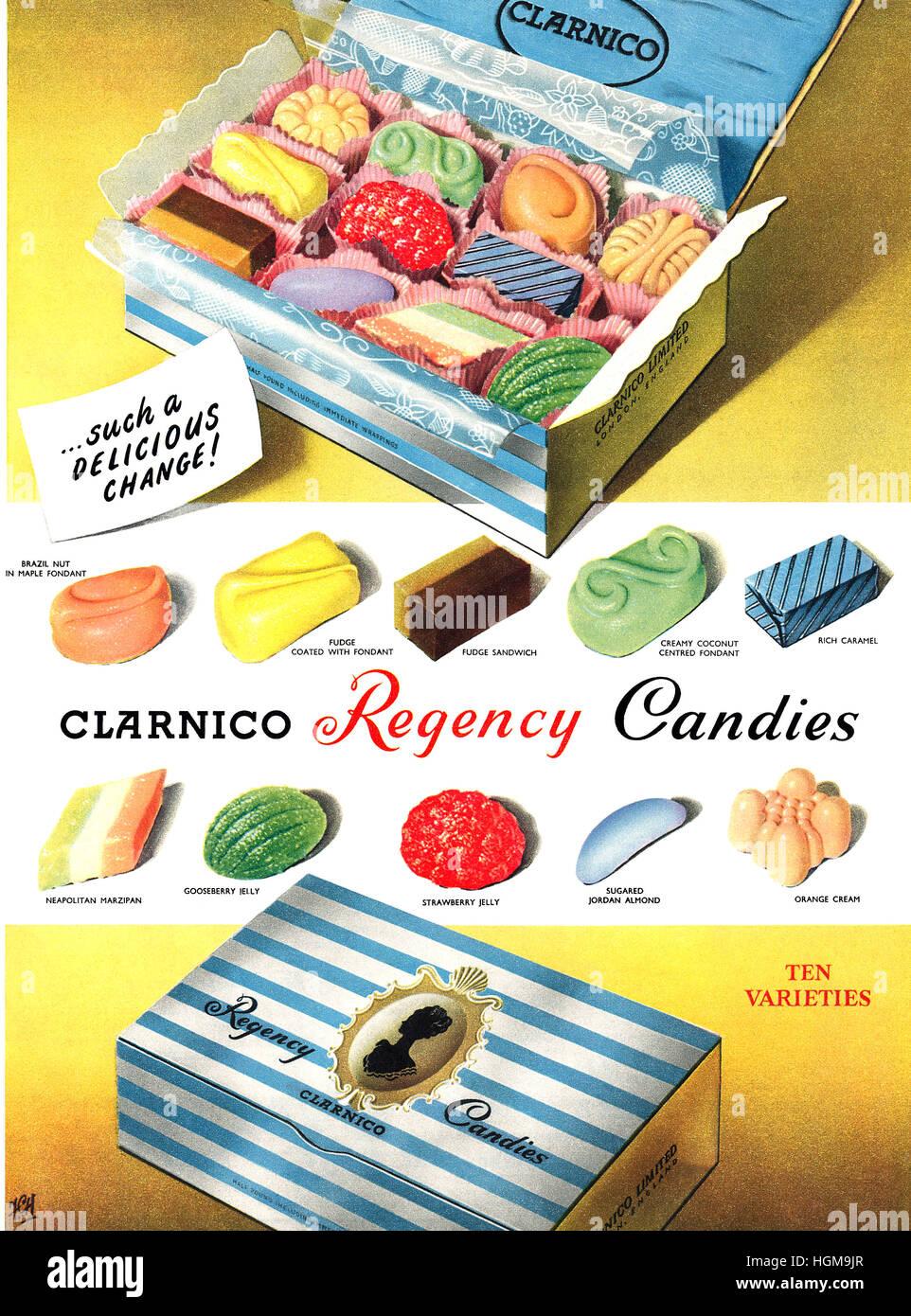 1953 anuncio británico para Clarnico Regency caramelos Imagen De Stock