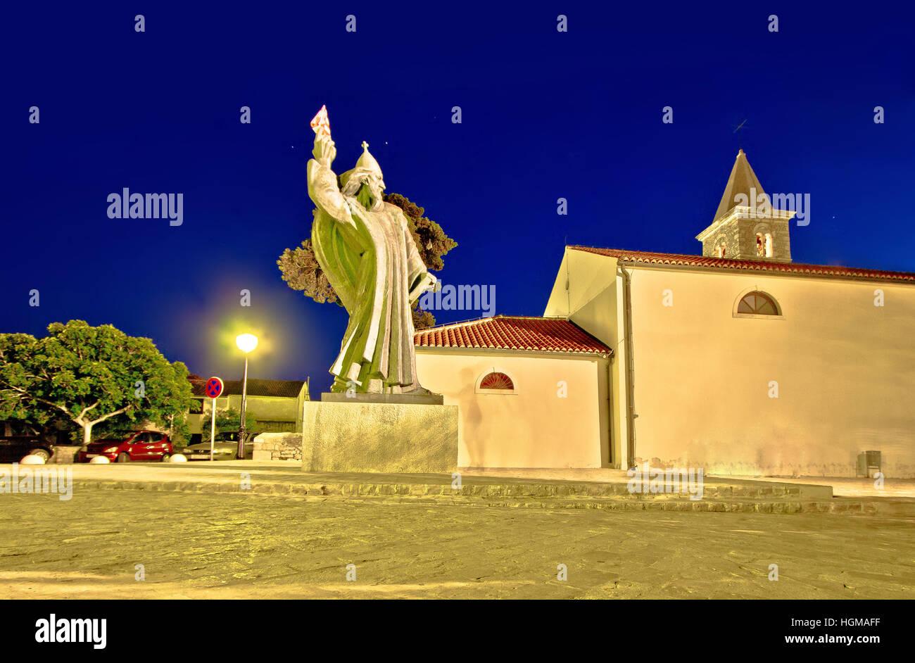 Grgur Ninski estatua en la ciudad de Nin, Dalmacia, Croacia Foto de stock