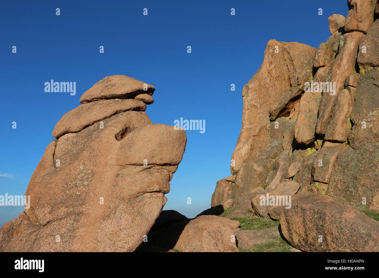El rostro como roca Parque Jardín de los dioses de las Montañas Rocosas de Colorado Foto de stock
