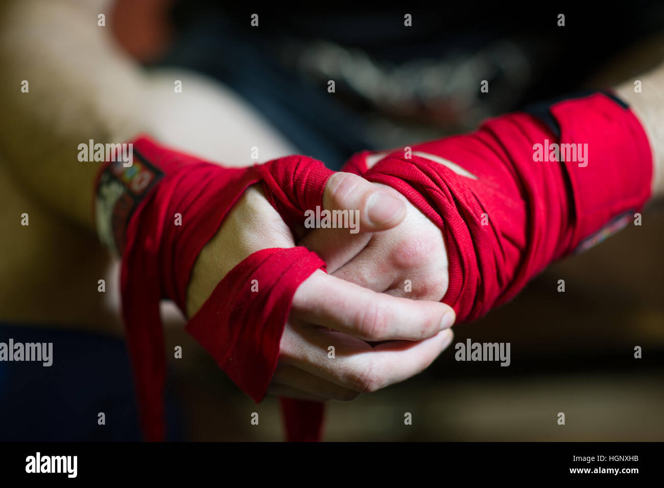 A boxeadores manos encintado Imagen De Stock