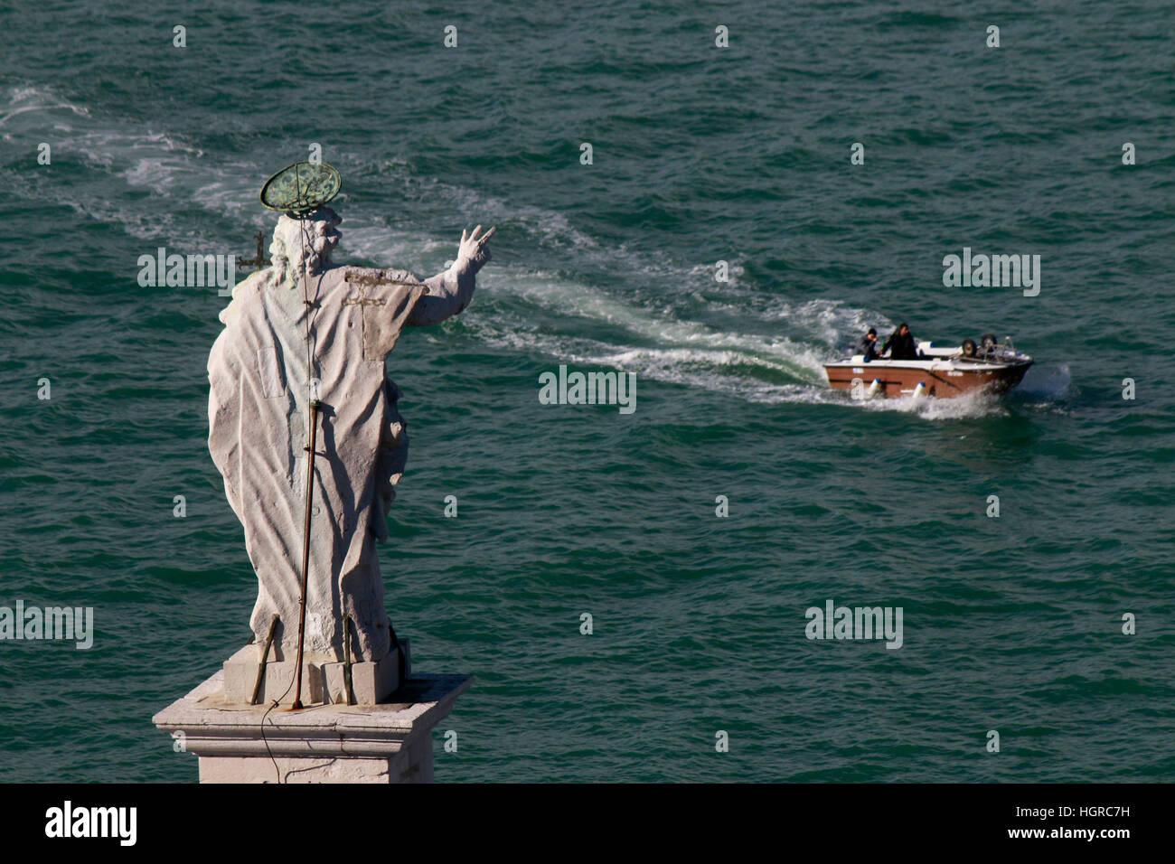 Panorama: Luftbild, Boot, Skulptur, Venedig, Italien. Imagen De Stock