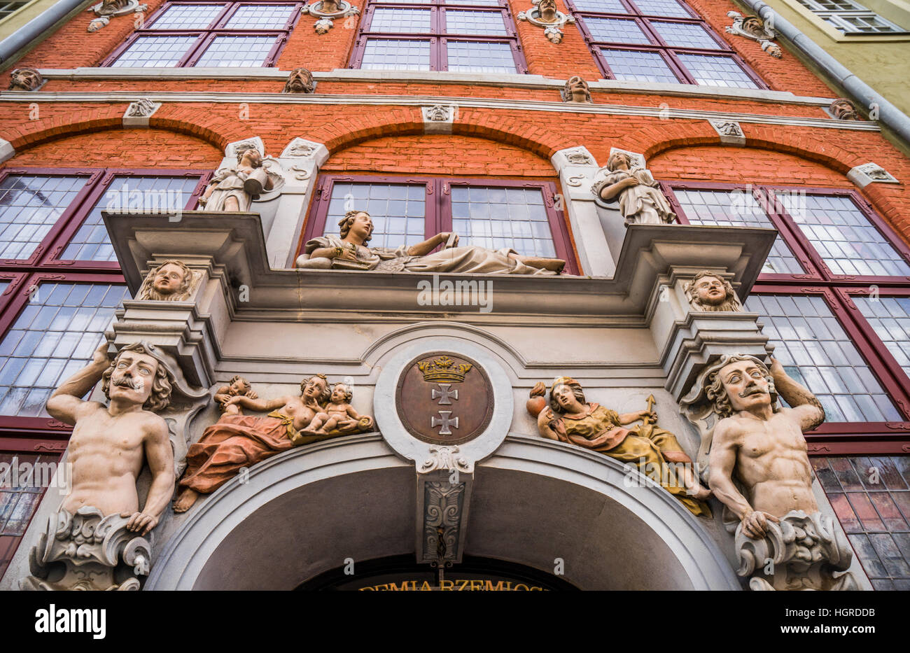 Polonia, Pomerania, Gdansk (Danzig), la floridly fachada de la casa de Patricia (1/2), Jopengasse Ulica Piwna Foto de stock