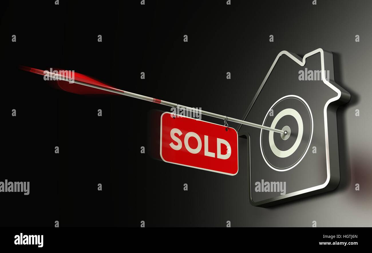 Ilustración del 3D en casa destino en forma sobre fondo negro y una flecha en el centro con un cartel donde está Foto de stock