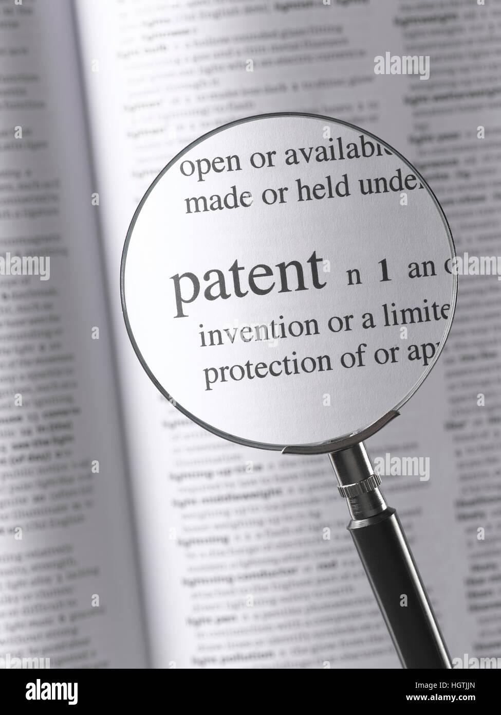 Lupa patente resaltado Foto de stock