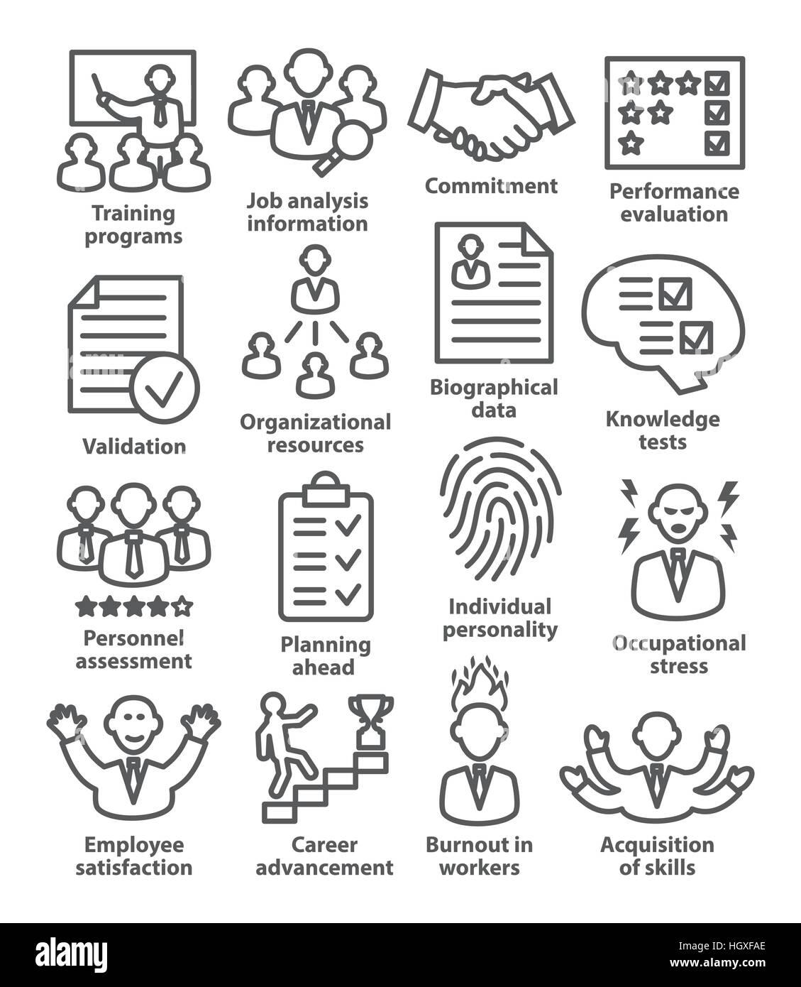 Gestión de negocios iconos de estilo de línea. Pack 23. Imagen De Stock