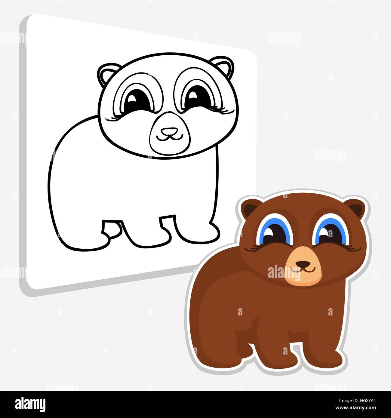 Libro para colorear para los niños la diversión. Bear Ilustración ...