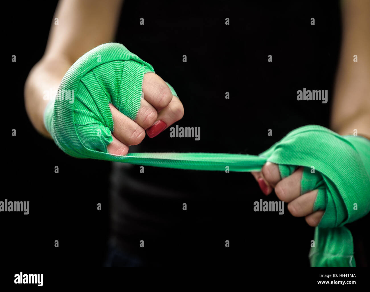 Woman Wrapping Hand Boxing Training Imágenes De Stock & Woman ...