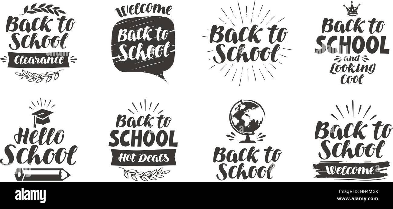 De vuelta a la escuela, conjunto de iconos. Letras escritas a mano. Etiqueta ilustración vectorial Imagen De Stock