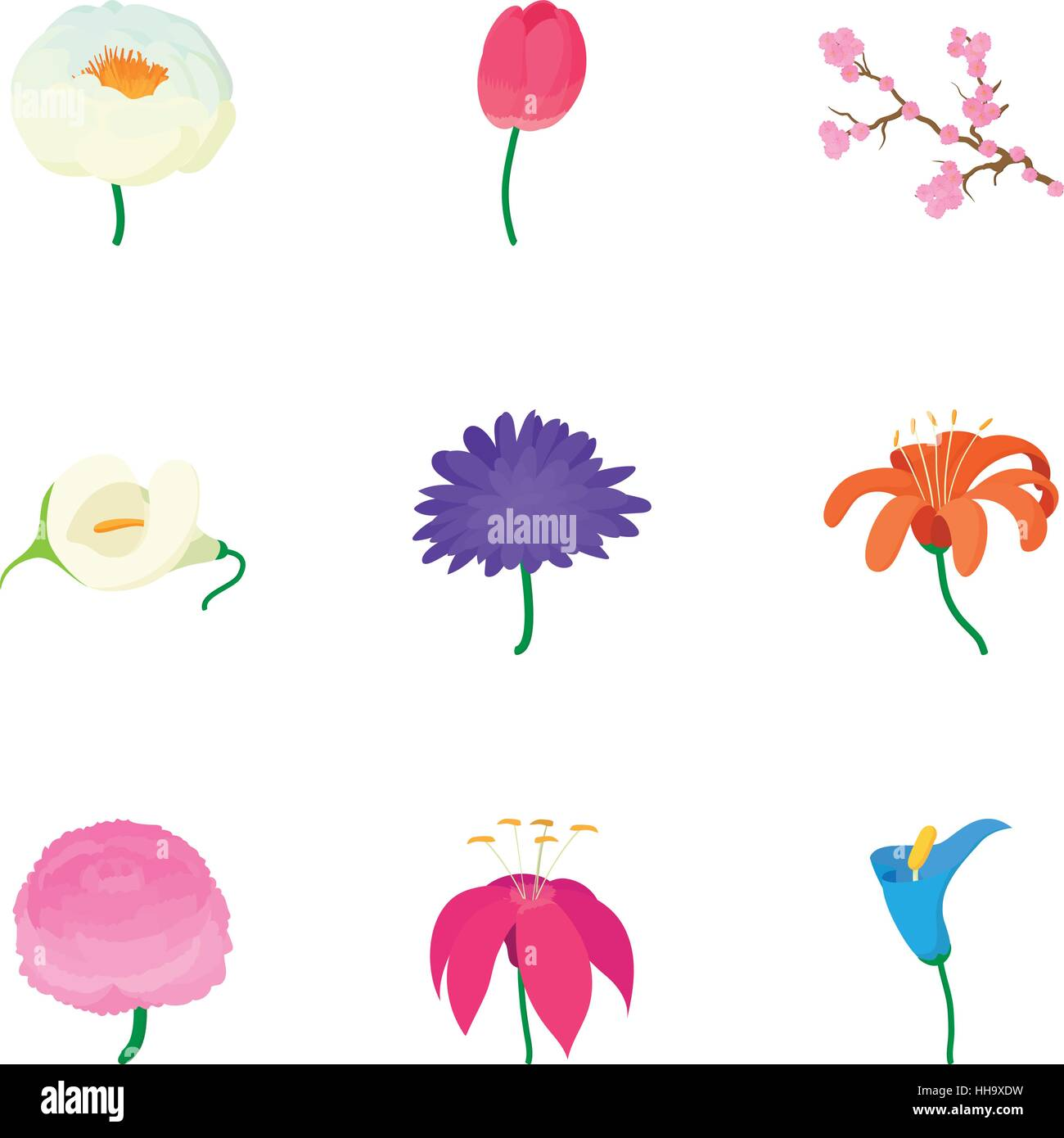 Las Flores De La Primavera Los Iconos De Estilo De Dibujos Animados