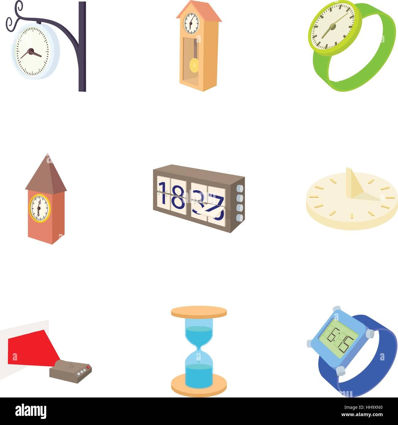 Tipos De Relojes Conjunto De Iconos De Estilo De Dibujos Animados