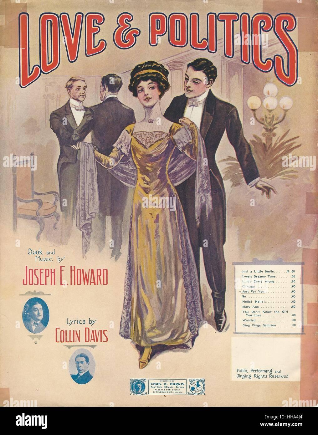 """""""El amor y la política"""" de 1911 Cubierta de Partituras Musicales de Chicago Imagen De Stock"""