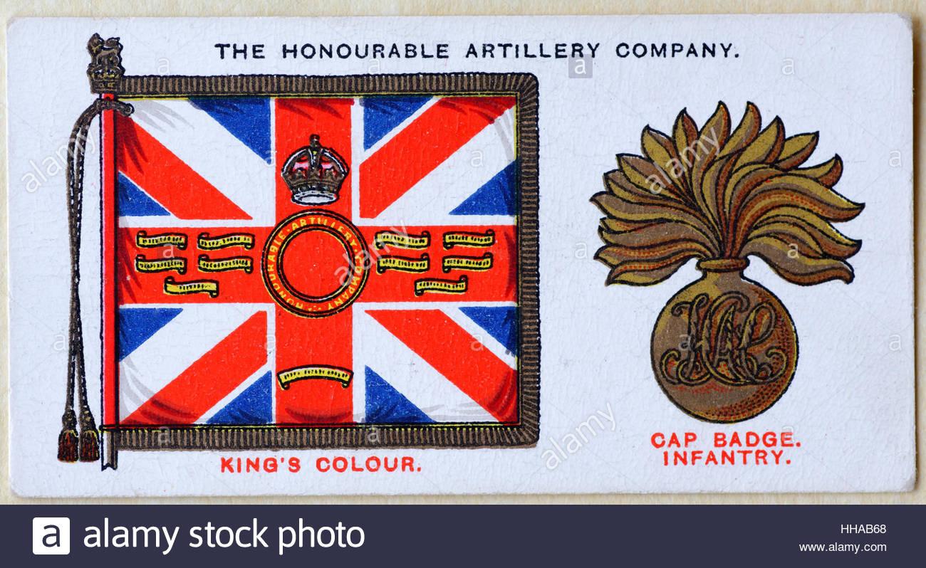 La Honorable Compañía de artillería regimental insignia estándar y tapa Imagen De Stock