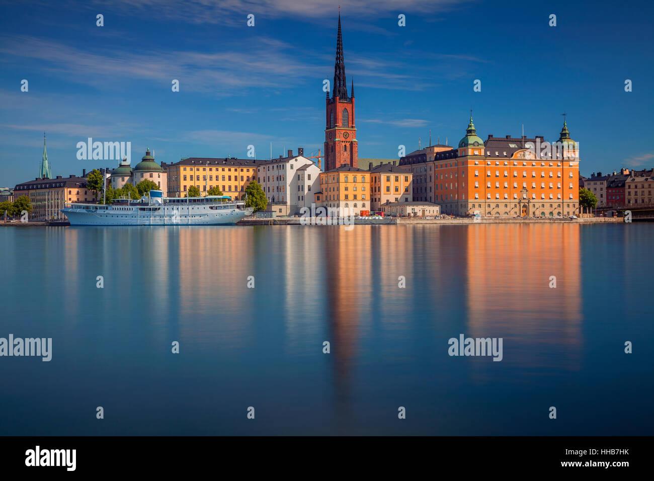 Estocolmo. Imagen del paisaje urbano de Estocolmo, Suecia durante el verano por la mañana. Imagen De Stock