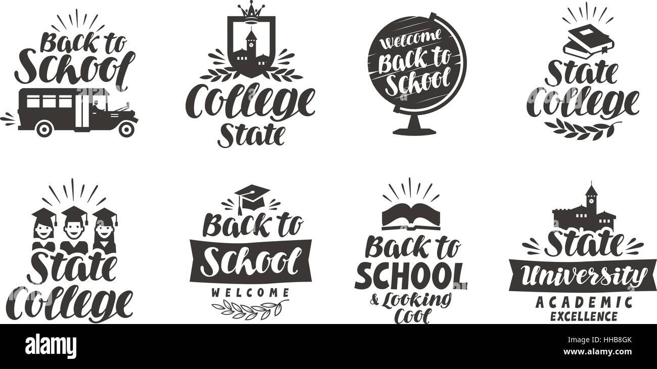 La escuela, la educación establecer iconos. Bellas Letras caligráficas. Etiqueta ilustración vectorial Imagen De Stock