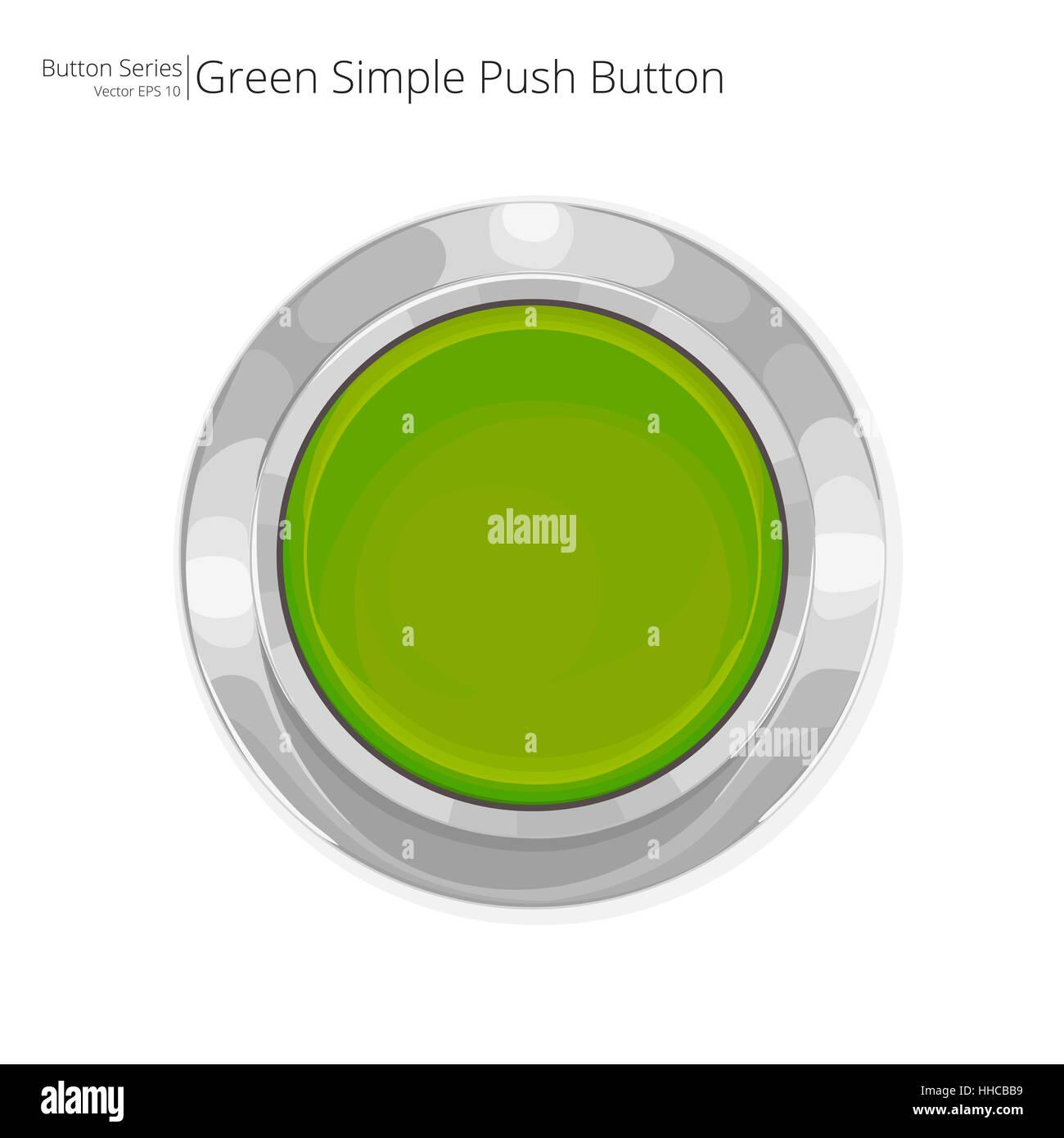 Pulsador de simple green. Vector EPS10. Imagen De Stock