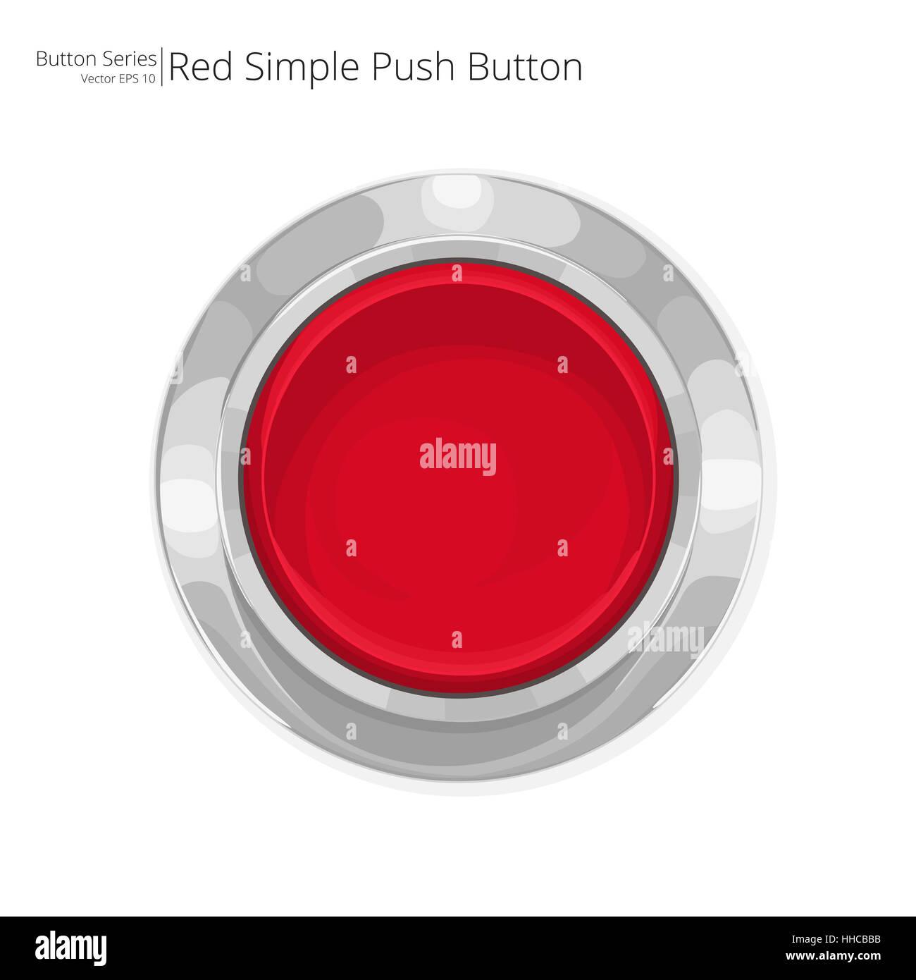 Simple pulsador rojo. Vector EPS10. Imagen De Stock