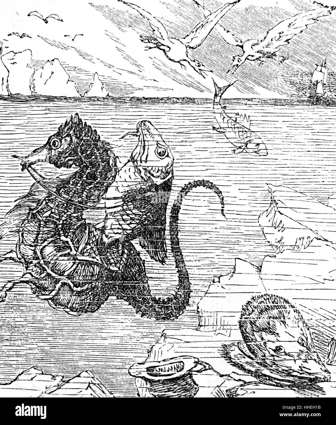 Ilustración representando la vida del mar y criaturas inusuales. Fecha del siglo XIX Imagen De Stock