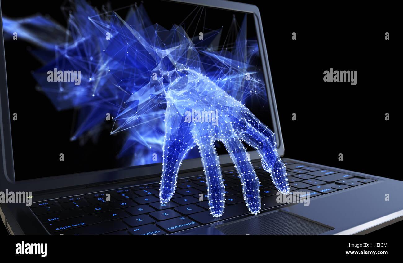 Robo de datos personales a través de un concepto de portátil para hacker, seguridad de red y de seguridad Imagen De Stock