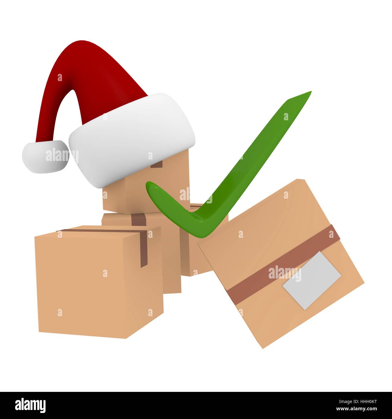 Navidad, servicio de paquetería, cartón, cartón, Paquete, paquete, paquetería, ok Foto de stock